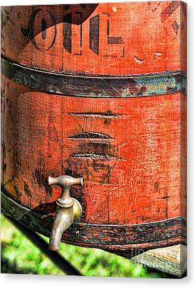 Weathered Red Oil Bucket Canvas Print by Paul Ward