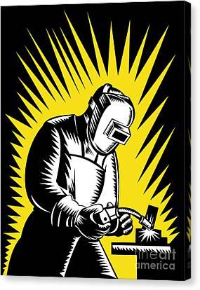 Welder Metal Worker Welding Retro  Canvas Print by Aloysius Patrimonio