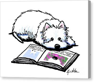 Wendell Loves Books Canvas Print by Kim Niles