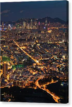 West Hongkong At Night Canvas Print by Coolbiere Photograph