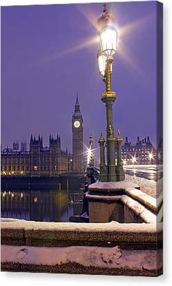 Westminster Snowfall Canvas Print by Andrew Thomas