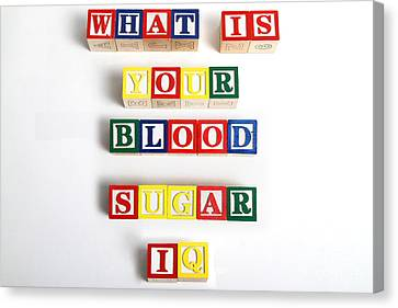 What Is Your Blood Sugar Iq Canvas Print by Photo Researchers