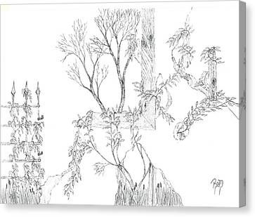 What Remains - Sketch Canvas Print by Robert Meszaros