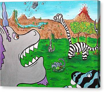 When Zebrasaurs Walked The Earth Canvas Print by Jera Sky