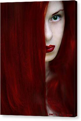 While Her Lips Are Still Red Canvas Print by Amalia Iuliana Chitulescu