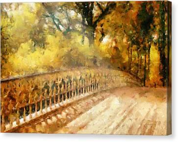 Whispers On A Bridge Canvas Print by Georgiana Romanovna