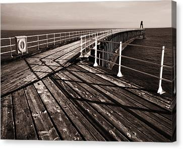 Whitby Pier  Canvas Print by Stephen  Wakefield