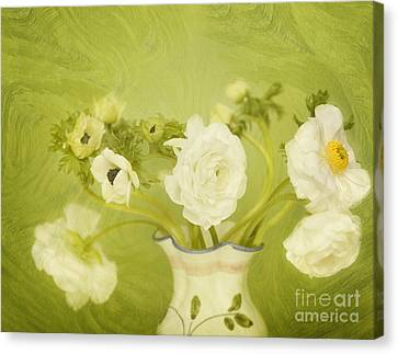 White Anemonies And Ranunculus On Green Canvas Print by Susan Gary