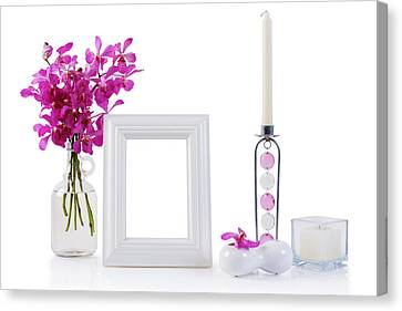 White Picture Frame In Decoration Canvas Print by Atiketta Sangasaeng