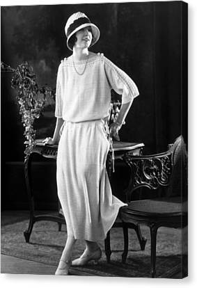 White Silk Knit Dress For Early Morning Canvas Print by Everett