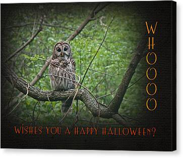 Whoooo Wishes  You A Happy Halloween - Greeting Card - Owl Canvas Print by Mother Nature