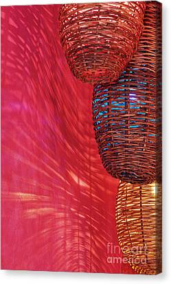 Wicker Light Shades And Pink Wall Canvas Print by Jeremy Woodhouse