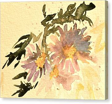 Wild Asters Aged Look Canvas Print by Beverley Harper Tinsley