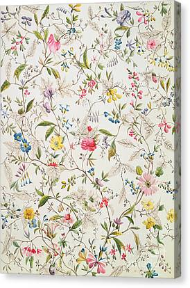 Wild Flowers Design For Silk Material Canvas Print by William Kilburn