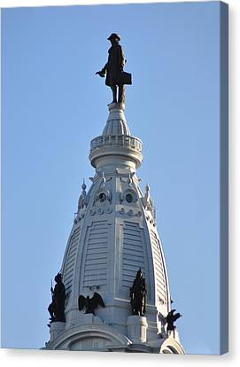 William Penn - On Top Of City Hall Canvas Print by Bill Cannon