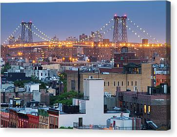 Williamsburg Bridge From East Village Canvas Print by Ryan D. Budhu