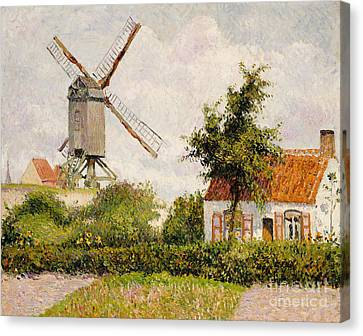 Windmill At Knokke Canvas Print by Camille Pissarro