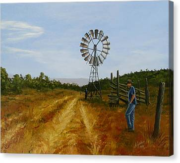 Windmill At Mandagery Canvas Print by Anne Gardner