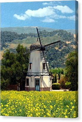Windmill At Mission Meadows Solvang Canvas Print by Kurt Van Wagner