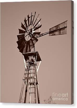 Windmill Sepia Canvas Print by Rebecca Margraf