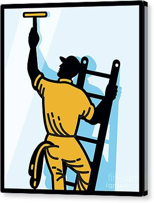 Window Cleaner Worker Cleaning Ladder Retro Canvas Print by Aloysius Patrimonio