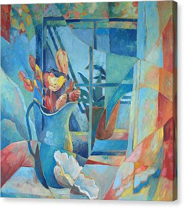 Window In Blue Canvas Print by Susanne Clark