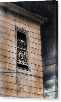 Window In Old House Stormy Sky Canvas Print by Jill Battaglia