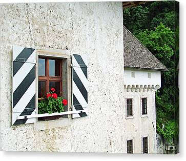 Window Ledge Predjama Castle Predjama Slovenia Canvas Print by Joseph Hendrix
