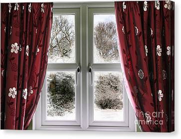 Window View To A Snow Scene Canvas Print by Simon Bratt Photography LRPS