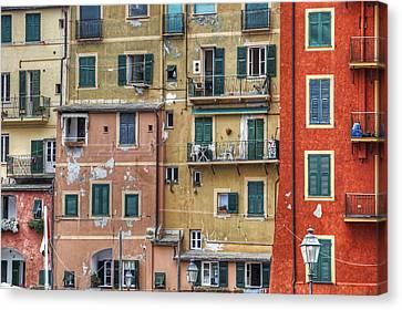 Windows Of Camogli Canvas Print by Joana Kruse