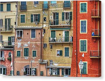 Windows Of Camogli Canvas Print by Joana Kruse