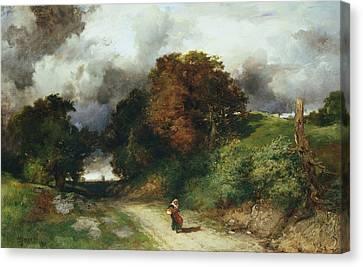 Windy Hilltop Canvas Print by Thomas Moran