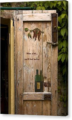 Wine A Bit Door Canvas Print by Sally Weigand