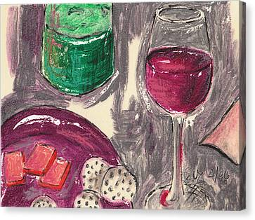 Wine And Cheese Canvas Print by Suzanne Blender