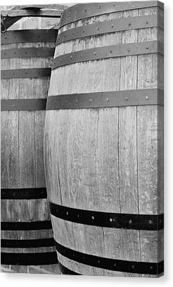 Wine Barrels Bw Canvas Print by Jenny Hudson