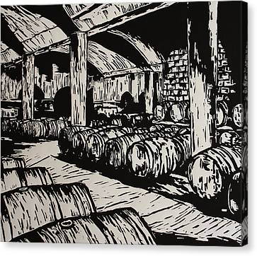 Wine Cellar Canvas Print by William Cauthern