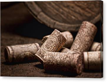Wine Corks And Barrel Still Life Canvas Print by Tom Mc Nemar