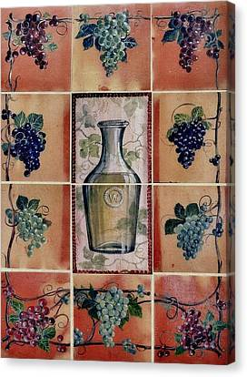 Wine Grape Mural Canvas Print by Andrew Drozdowicz