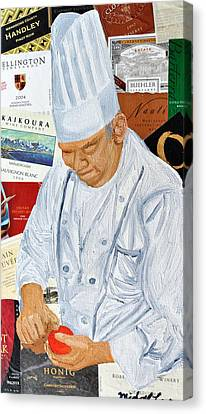 Wine Label Chef Canvas Print by Michael Lee