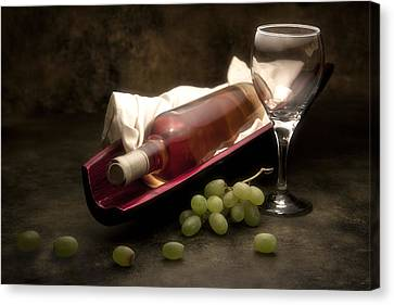 Wine With Grapes And Glass Still Life Canvas Print by Tom Mc Nemar