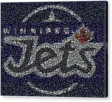 Winnipeg Jets Puck Mosaic Canvas Print by Paul Van Scott