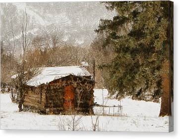 Winter Cabin 2 Canvas Print by Ernie Echols