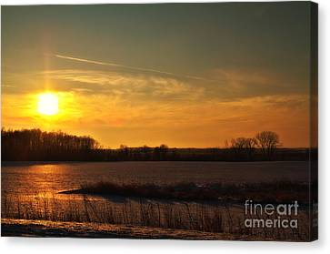 Winter Country Sunset Canvas Print by Joel Witmeyer
