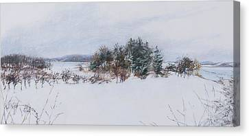 Winter In Ipswich Ma Canvas Print by Sandy Spring