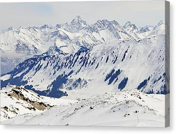 Winter In The Alps - Snow Covered Mountains Canvas Print by Matthias Hauser