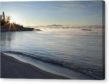 Winter Mist On Lake Superior At Sunrise Canvas Print by Susan Dykstra