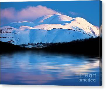 Winter Mountains And Lake Snowy Landscape Canvas Print by Anna Omelchenko