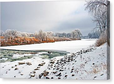 Winter Red River 2012 Canvas Print by Steve Augustin