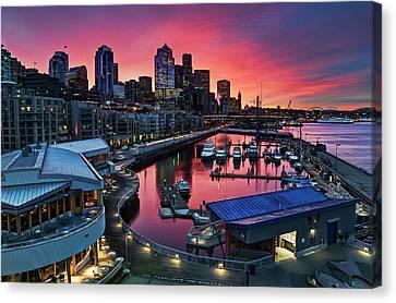 Winter's Morning Palette Seattle Canvas Print by Stephen Kacirek