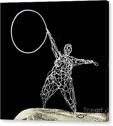 Wire Lady Holding Hoop Canvas Print by Tommy  Urbans